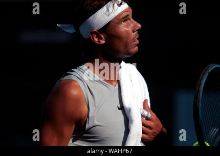 Flushing Meadows, New York - Rafael Nadal of, Spain. 20th Aug, 2019. takes a break during a practice session at the National Tennis Center in Flushing Meadows, New York in preparation for the US Open which begins next Monday. Credit: Adam Stoltman/Alamy Live News - Stock Photo