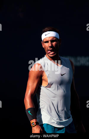 Flushing Meadows, New York - Rafael Nadal of, Spain. 20th Aug, 2019. during a practice session at the National Tennis Center in Flushing Meadows, New York in preparation for the US Open which begins next Monday. Credit: Adam Stoltman/Alamy Live News - Stock Photo