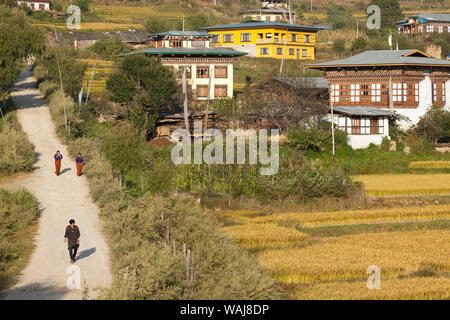 Bhutan, Paro. People walking down a road from their community of traditional homes, past rice and corn fields. (Editorial Use Only) - Stock Photo