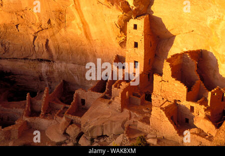 Evening light on Square Tower House Ruins, Mesa Verde National Park (World Heritage Site), Colorado, USA. - Stock Photo