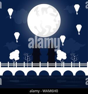 mid autumn festival scenery with moon - Stock Photo