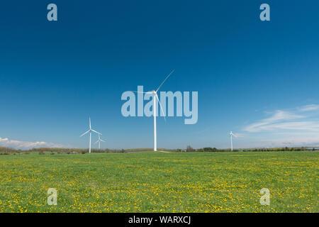 Broken wind turbine at the wind energy farm in Michigan, USA - Stock Photo