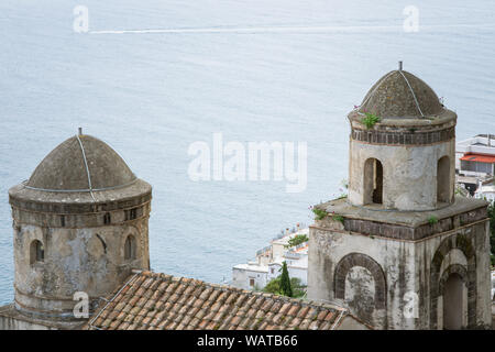 The Church of SS Annunziata from Villa Rufolo built above the sea, historic center of Ravello, Amalfi Coast of Italy - Stock Photo