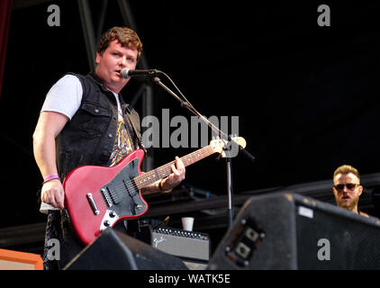 Danny Core of Broken Witt Rebels performing at Weyfest music festival, Tilford, Surrey, UK. August 16, 2019 - Stock Photo