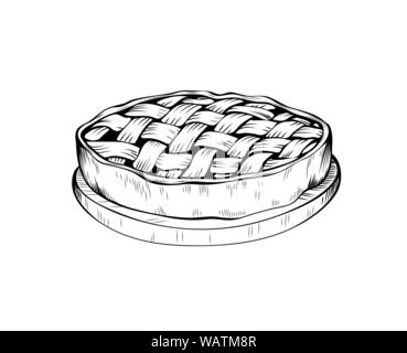 Apple pie hand drawn vector illustration. Autumn season holiday, thanksgiving day sketch symbol. Traditional homemade baking with delicious filling monochrome drawing. Pastry shop, bakery logotype - Stock Photo