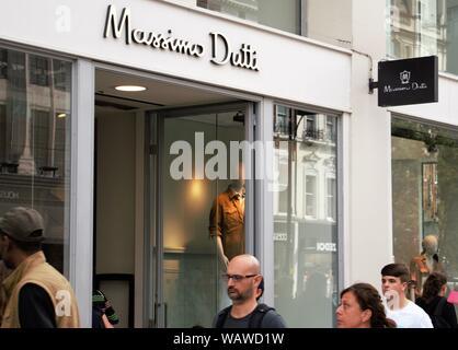 Entrance to the Massimo Dutti store in Oxford Street, London, UK - Stock Photo