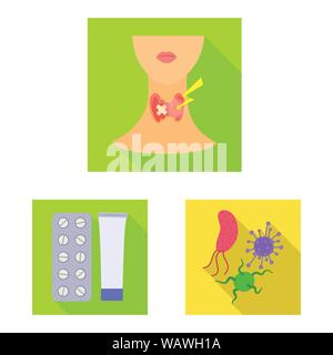 Isolated object of dermatology and disease sign. Collection of dermatology and medical stock symbol for web. - Stock Photo
