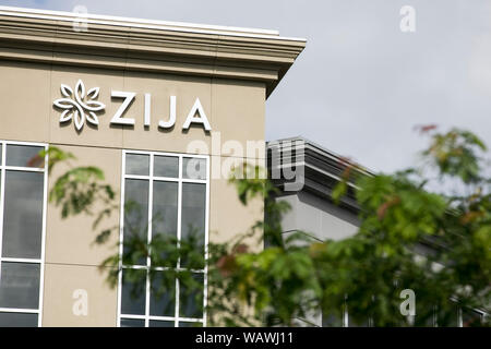 A logo sign outside of a facility occupied by Zija International  in Lehi, Utah on July 27, 2019. - Stock Photo