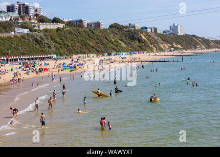 Bournemouth, Dorset UK. 22nd Aug 2019. UK weather: a lovely warm sunny day as beachgoers head to the seaside at Bournemouth beaches to enjoy the sunshine, as temperatures are set to get higher for the Bank Holiday weekend. Credit: Carolyn Jenkins/Alamy Live News - Stock Photo