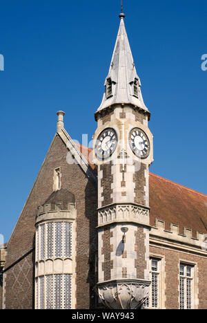 Detail view of the Corn Exchange Building with clocktower. A grade II listed building constructed 1847-1848 and the clocktower was added in 1864. - Stock Photo