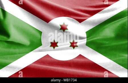Realistic flag of Burundi on the wavy surface of fabric - Stock Photo