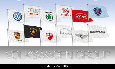 Volkswagen Group international car industry, flags with logos, illustration - Stock Photo