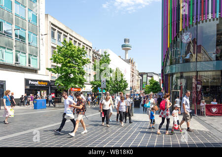 Pedestrianised Lord Street, Liverpool, Merseyside, England, United Kingdom - Stock Photo