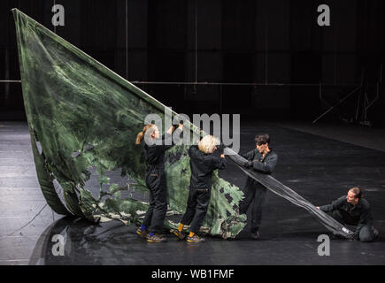Bochum, Germany. 22nd Aug, 2019. ATTENTION: LOCK OFF TIME 23.08.2019, 22 o'clock. Ensemble members perform in the Jahrhunderthalle Bochum during a photo rehearsal of the musical play 'Everything that happened and would happen' directed by Heiner Goebbels. Credit: Caroline Seidel/dpa - ATTENTION: Only for editorial use in the context of reporting on the Ruhrtriennale 2019/dpa/Alamy Live News - Stock Photo