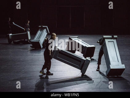 Bochum, Germany. 22nd Aug, 2019. ATTENTION: LOCK OFF TIME 23.08.2019, 22 o'clock. During the photo rehearsal in the Jahrhunderthalle Bochum, ensemble members will perform the musical play 'Everything that happened and would happen' directed by Heiner Goebbels. Credit: Caroline Seidel/dpa - ATTENTION: Only for editorial use in the context of reporting on the Ruhrtriennale 2019/dpa/Alamy Live News - Stock Photo