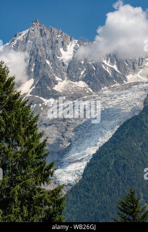 View of Bossons glacier from parc de Merlet - Stock Photo