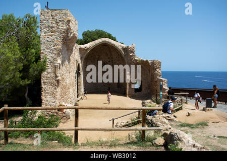 St Vincent church ruins in Tossa De Mar, Spain. - Stock Photo