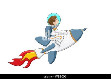 Astronaut boy on a rocket flying through white background - Stock Photo