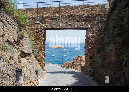 Original view - Within the castle in Tossa De Mar, Spain - Stock Photo