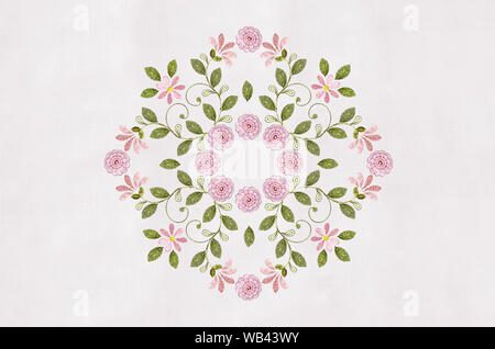 Embroidery of bouquets pink flowers with curlsand rosesin the center - Stock Photo