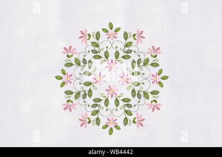 Pattern for embroidery of bouquets with pink flowers and curls - Stock Photo