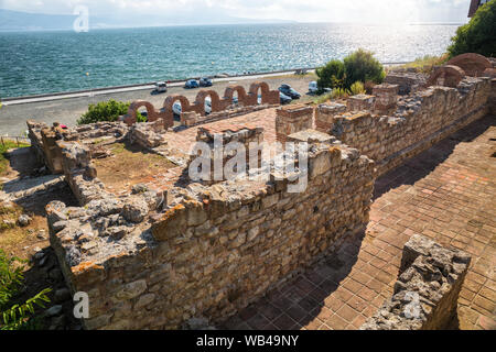 Ruins of Basilica of the Holy Mother of God Eleusa (6th century) in old town of Nessebar, Bulgaria - Stock Photo