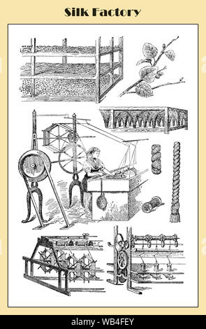 Silk production in an Italian factory, illustrated table from a lexicon ealy '900 - Stock Photo