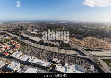 Aerial view of North Oxnard Blvd crossing the Ventura 101 Freeway in Ventura County, California. - Stock Photo
