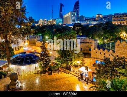 Aliaga Vahid Park and the Walls of Icheri Sheher, Baku, Azerbaijan - Stock Photo