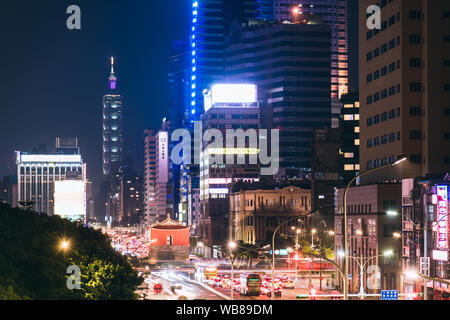 Taipei, Taiwan - Aug 11, 2019: Aerial panorama over Downtown Taipei with Taipei 101 Skyscraper, capital city of Taiwan - Stock Photo