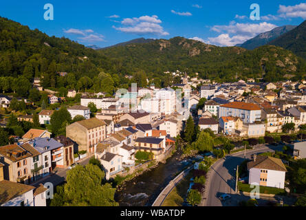 Aerial view of Ax-les-Thermes with buildings and The Lauze river in  France, Midi-Pyrenees - Stock Photo