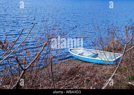 Old broken row boat were stranded stuck on Kawaguchiko lake shore with dry grass and tree branches - Stock Photo