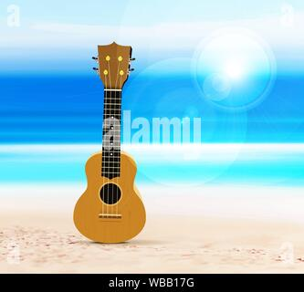 Ukulele guitar on the beach, against the background of the sea or ocean. Vector illustration in a tropical style. - Stock Photo