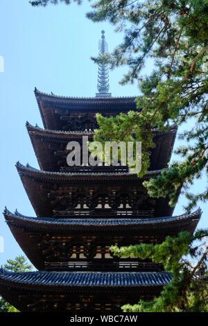 The five storied pagoda of the Kofukuji temple complex in Nara, Japan. - Stock Photo