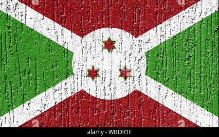 Flag of Burundi close up painted on a cracked wall - Stock Photo