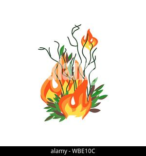 Forest fires disaster tree flat vector icon. Wildfires destroy woodland environment cartoon. Green tree before after burning. Fire-scarred trees sign. - Stock Photo