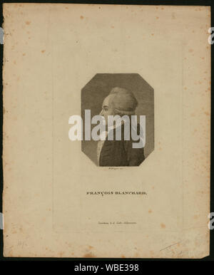 François Blanchard; Half-length profile portrait of French balloonist Jean-Pierre Blanchard. - Stock Photo