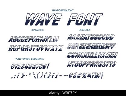Vector alphabet typeface. Hand drawn modern typeface. Wave font. Uppercase latin letters half painted in ink. Decorative type signs. - Stock Photo