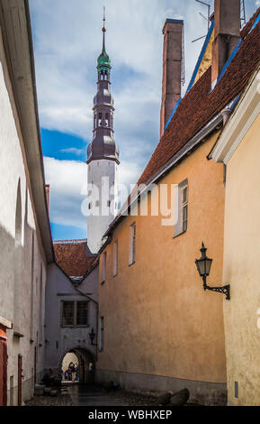 Tallinn, Estonia. Aug 13, 2019: Beautiful street view of Tallinn's tower in the old town - Stock Photo