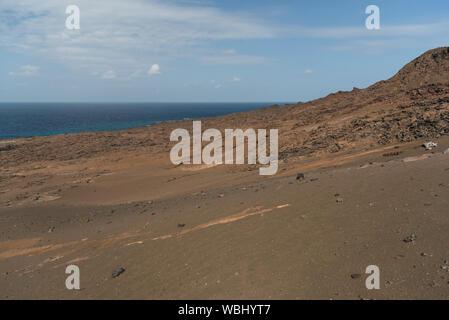 Landscape of volcanic island, Bartolome, Galapagos Islands, Ecuador. - Stock Photo