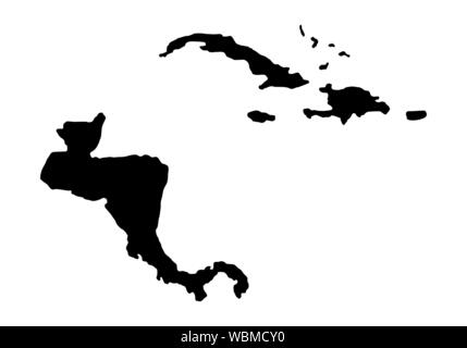 Central America dark silhouette map isolated on white background - Stock Photo