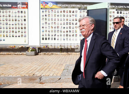 US National Security Advisor John Bolton at the memorial wall for Ukrainian servicemen, who died in the war conflict against Russia-backed separatists in the east of the country. John Bolton visits Ukraine. - Stock Photo