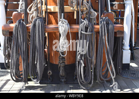 Rigging or 'sheets' of the Royal Research Ship Discovery, drydocked in Dundee - Stock Photo
