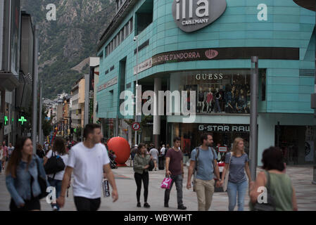 Escaldes Engordany, Andorra : 2019 August 22 :  Andorra La Vella. People Walk in the Comercial Street named Carlemany. Escaldes Engordany, Andorra - Stock Photo