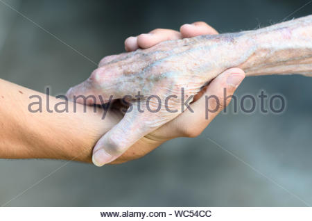 Old and young man shaking or gripping hands in a close up view conceptual of assistance, agreement, acceptance, greeting and tolerance - Stock Photo