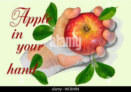 creative Illustration of an apple in a half drawn hand with leaves - Stock Photo