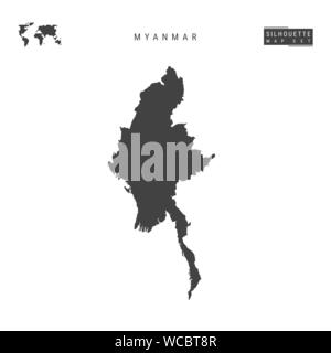 Myanmar Blank Vector Map Isolated on White Background. High-Detailed Black Silhouette Map of Myanmar. - Stock Photo