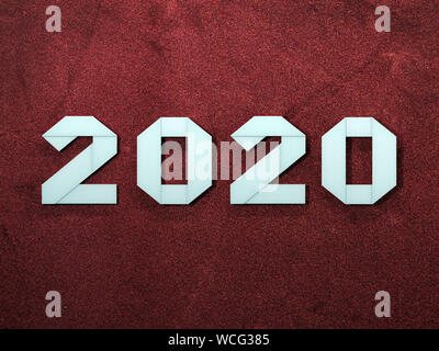 New Year 2020 digits folded from paper in origami style on red background - Stock Photo