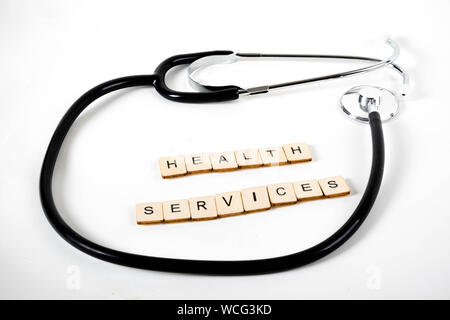 Medical or Healthcare concept with a stehoscope and the message Health Services - Stock Photo