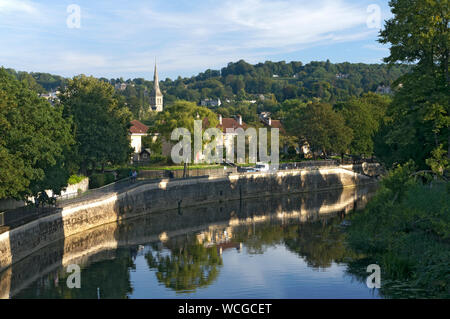View of River Avon and Bath from North Parade Bridge, Bath, Somerset. - Stock Photo